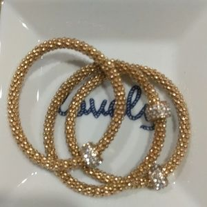 3 PC gold bracelet with bling!